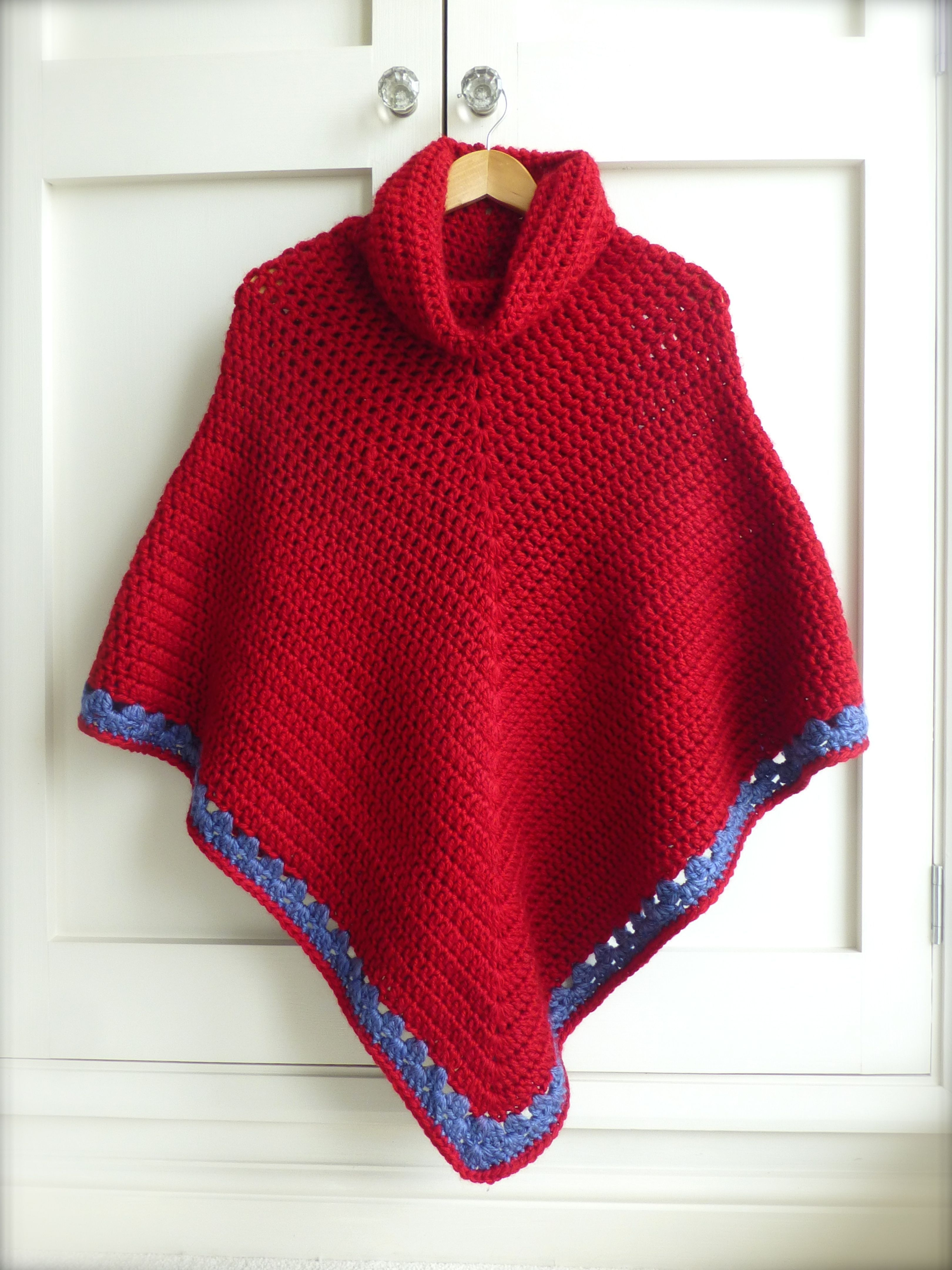 crochet poncho - made with chunky yarn with a cowl neck that can be ...