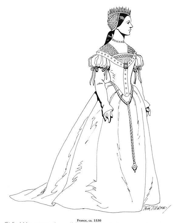 45 Ausmalbilder von Kleidung der Renaissance auf Kids-n