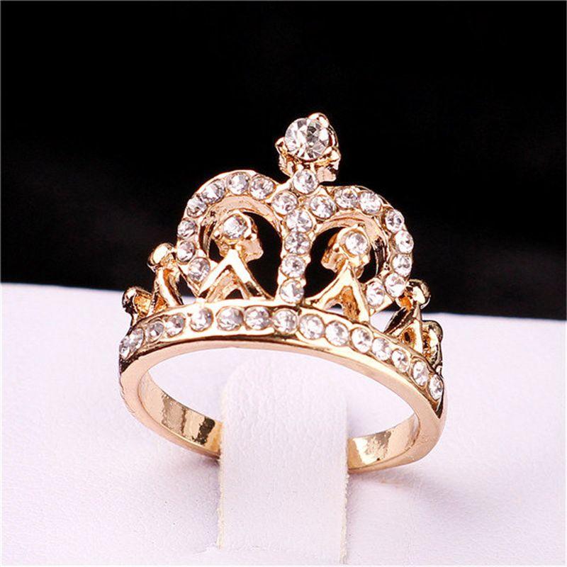 2017 Vendita Calda Placcato Oro Nuovo anello di disegno Corona Monili Dell'anello Del Partito Anelli per le donne All'ingrosso E-shine