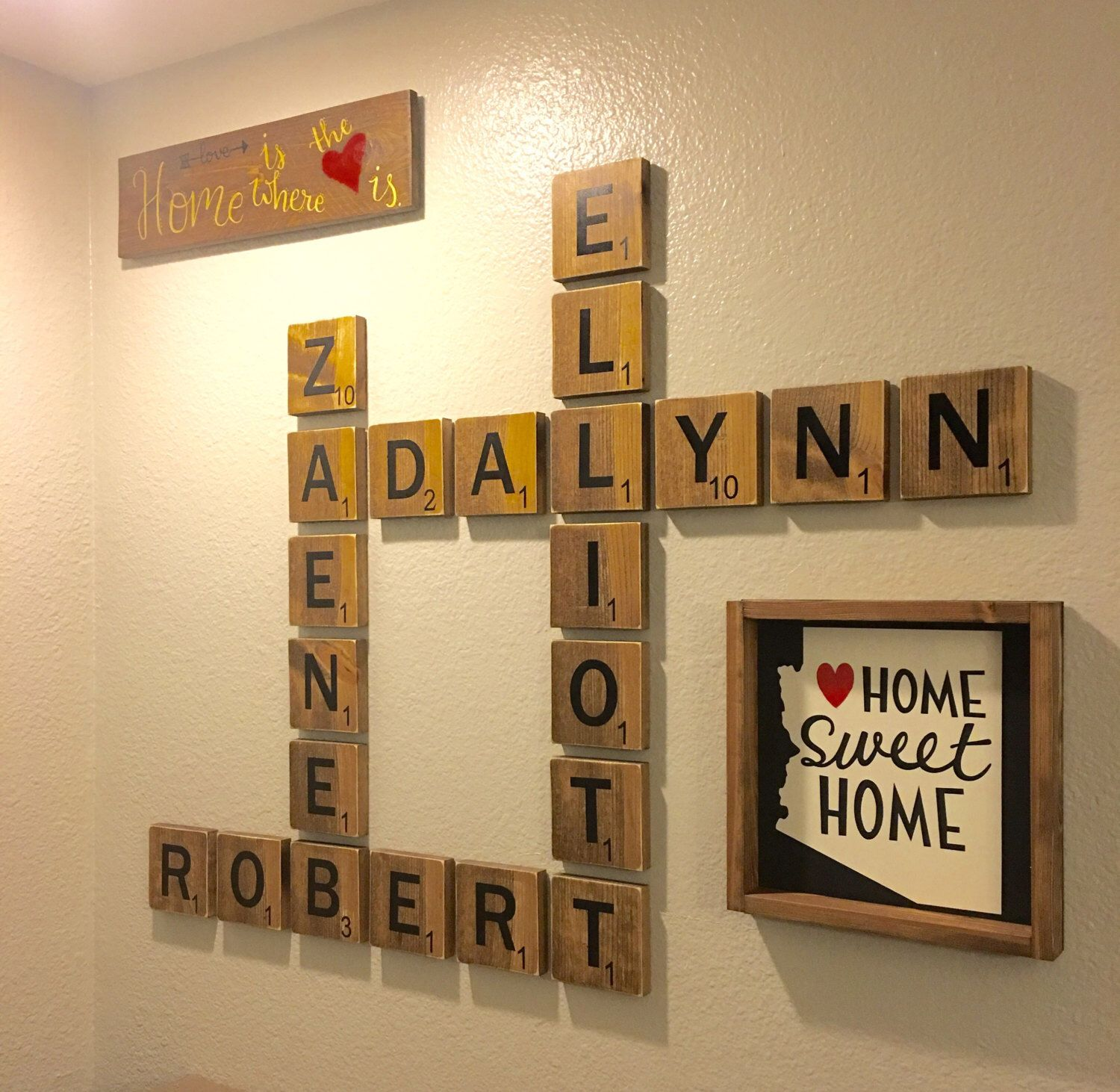 Scrabble wall art! Display family names in a beautiful and playful ...