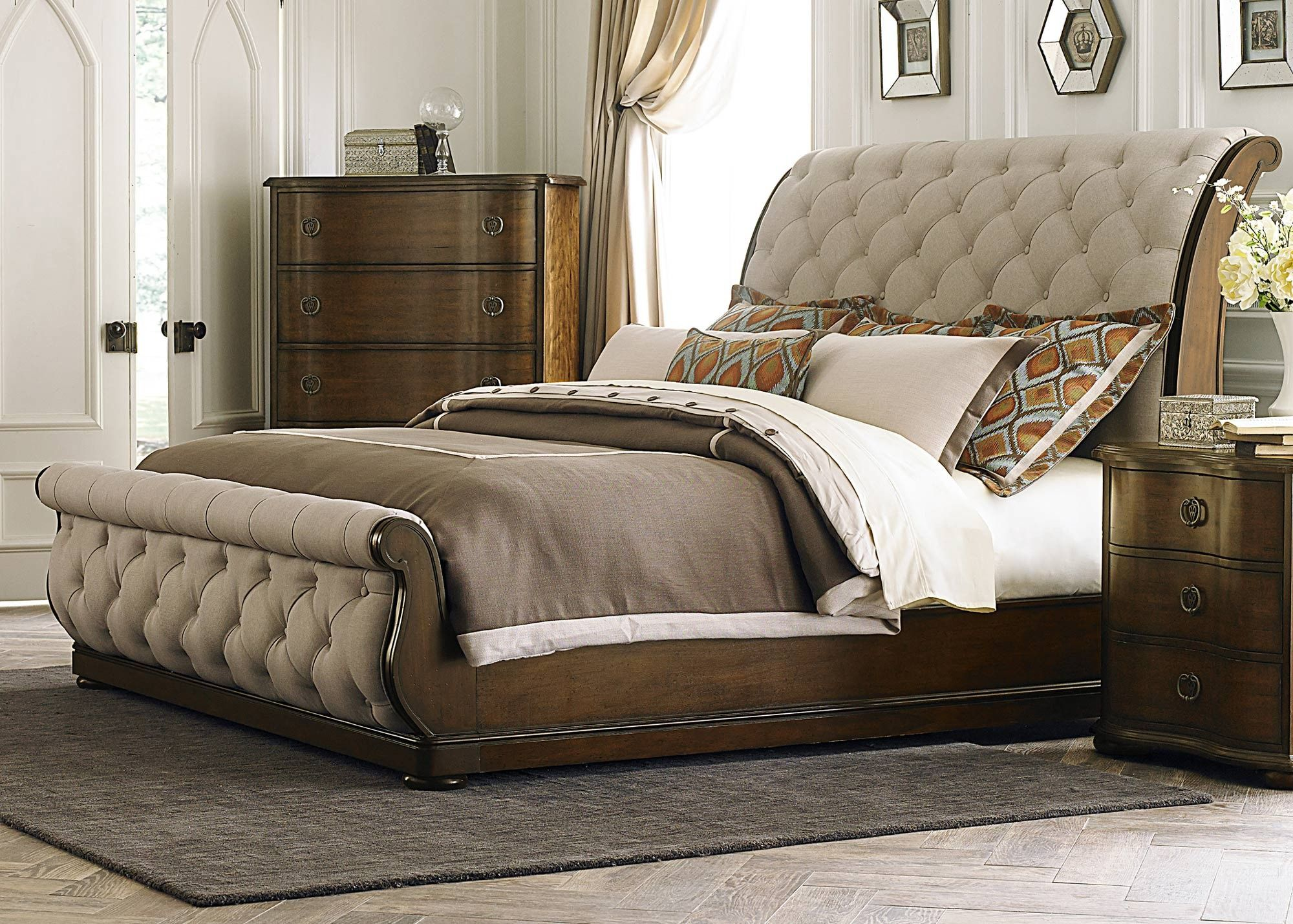 Cotswold queen upholstered sleigh bed by liberty home gallery stores