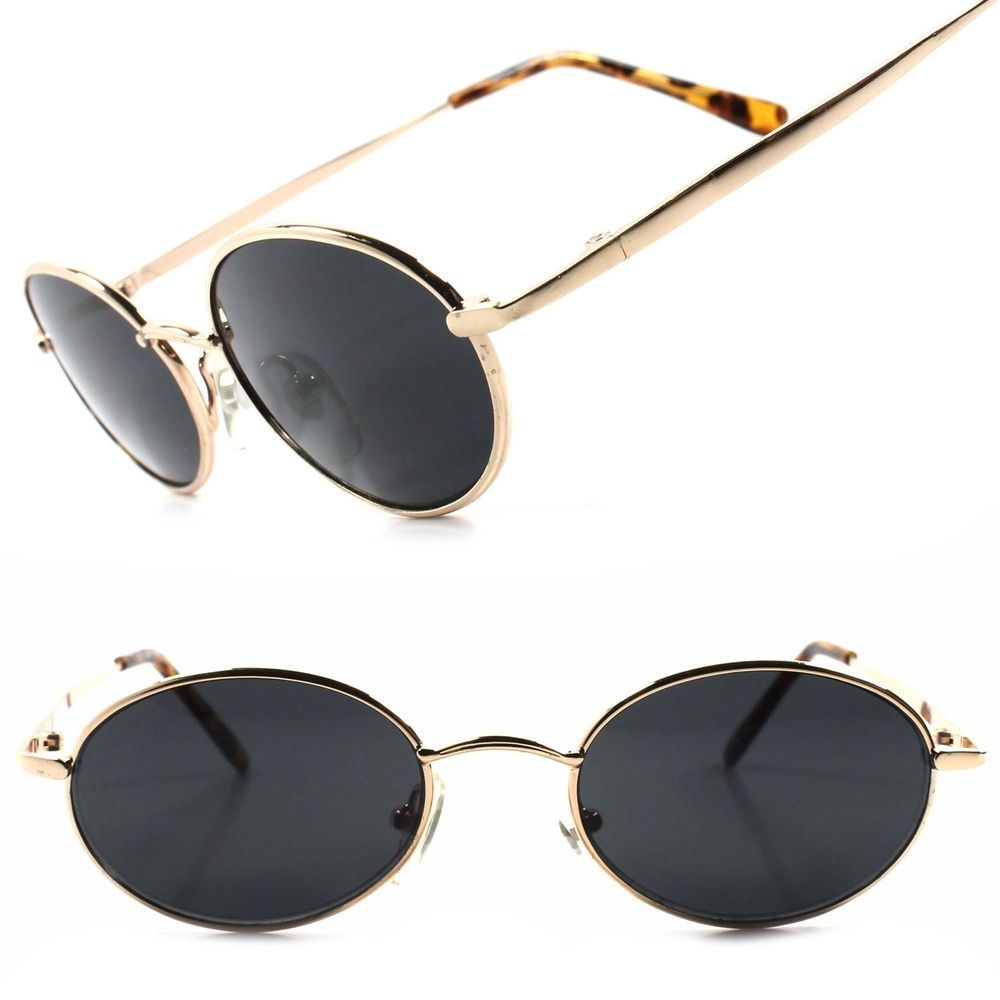 3480929fc7d Classic Indie Retro Fashion Gold Mens Womens Hip Vintage Round Oval  Sunglasses  KISS  Oval