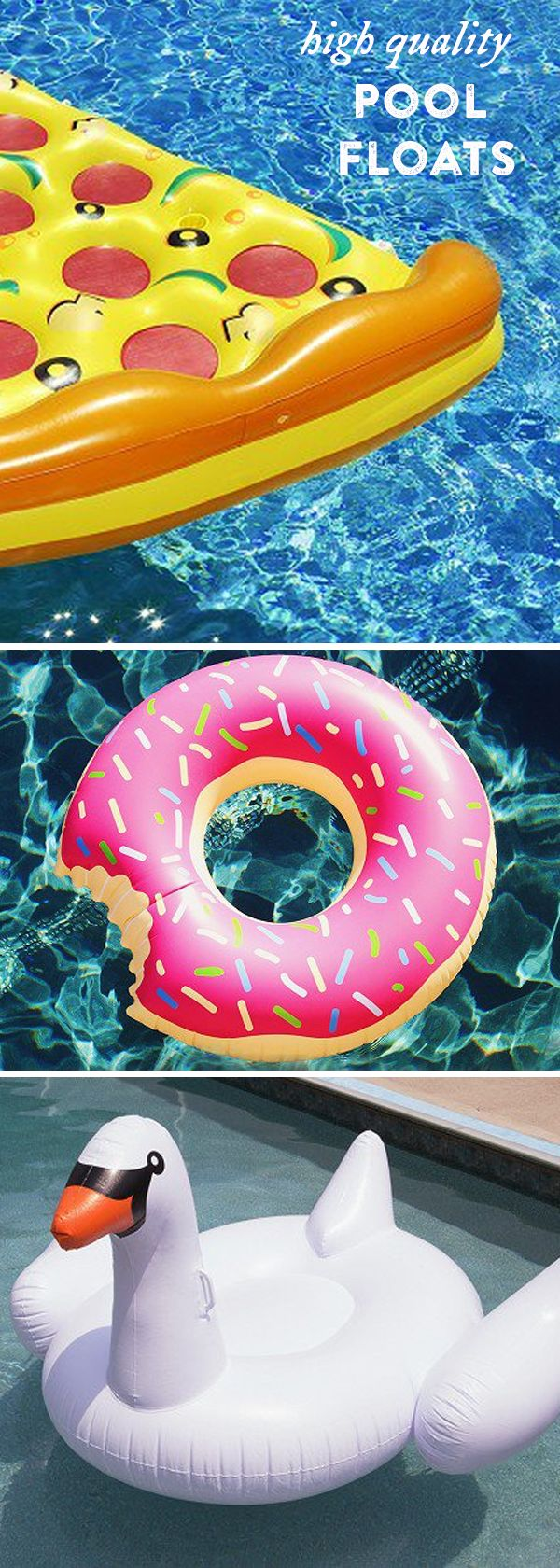 These fun pool floats are ready to party like a celeb. The quirky designs are quality tested and made with extra thick material—so your pizza will stay afloat.