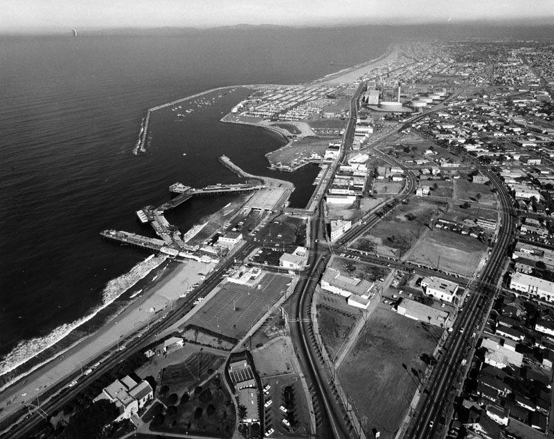 Aerial of Redondo Beach California early 60u0027s