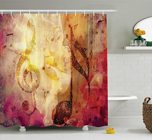 Artsy Shower Curtain Abstract Bath Decor By Ambesonne Modern Musical  Artwork Classroom Music Note Theme Grunge