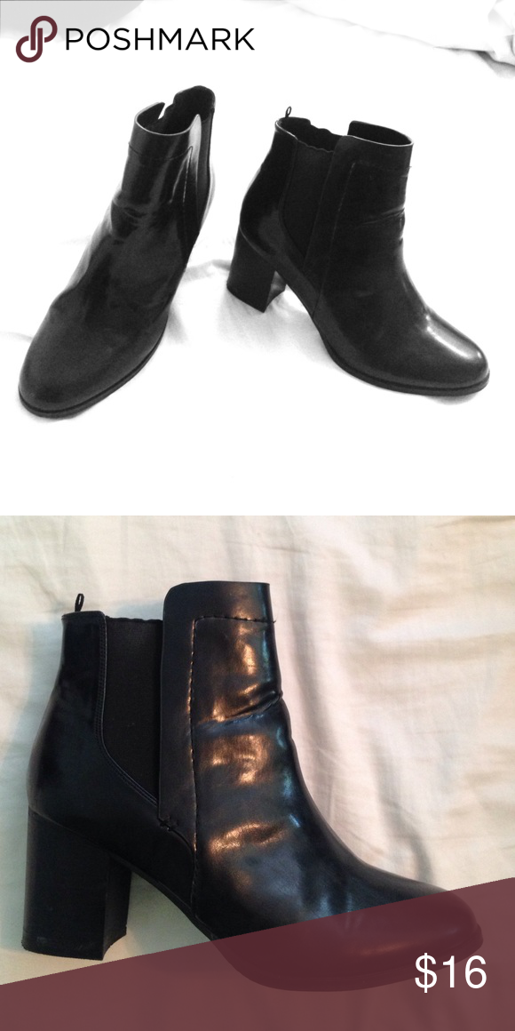 Black Leather Heeled Booties Worn less than 5 times, great condition. Originally bought at Penney's in Dublin, Ireland. Size says U.S. 9.5 but I fit comfortably as a size 8.5 Shoes Ankle Boots & Booties