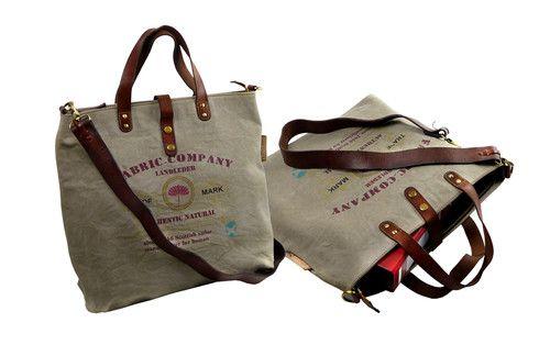 8876b4721 Wyjątkowa, lekka torba typu shopper, wykonana ręcznie z płótna oraz  wytrzymałej skóry bydlęcej.