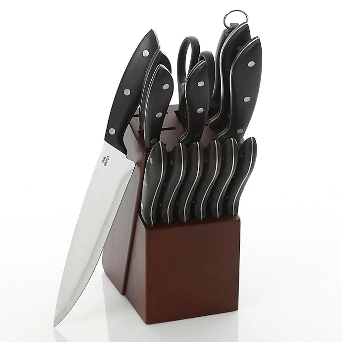 Prime Gourmet 15 Piece Knife Block Set In Brown Bed Bath Beyond Kitchen Cutlery