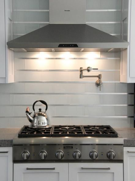 Style Of This contemporary backsplash blends white subway glass tile with stainless steel inserts New Design - Review metallic tiles kitchen backsplash