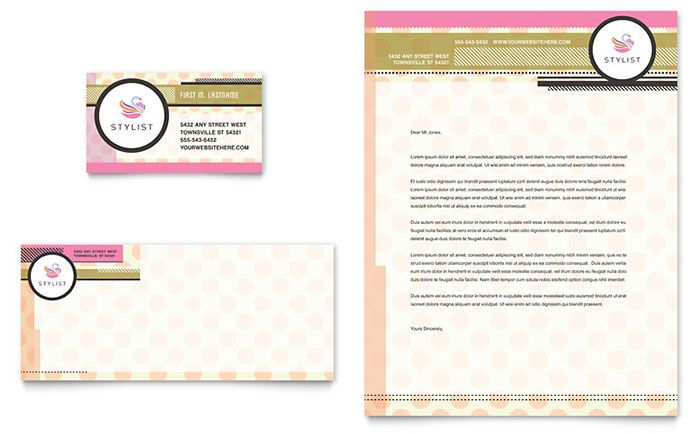 Hairstylist Business Card And Letterhead Template Design By
