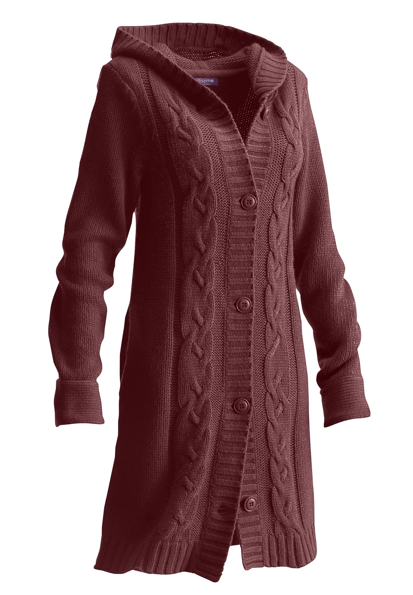 Long Hooded Cardigan by Taillissime® | Plus Size | Roamans ...
