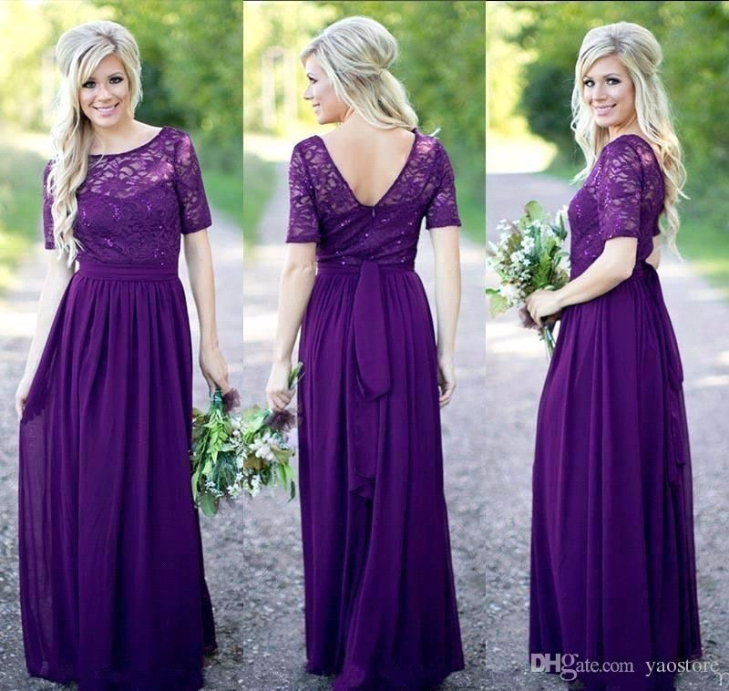 Top Chiffon Skirt Bridesmaid Dresses with Short Sleeves Pleated ...