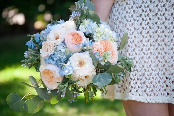 Juliet Garden Rose Wedding Bouquet Peach And Dusty Blue Wedding Flowers Wedding Flower Packages Coral Wedding Flowers Wedding Flowers