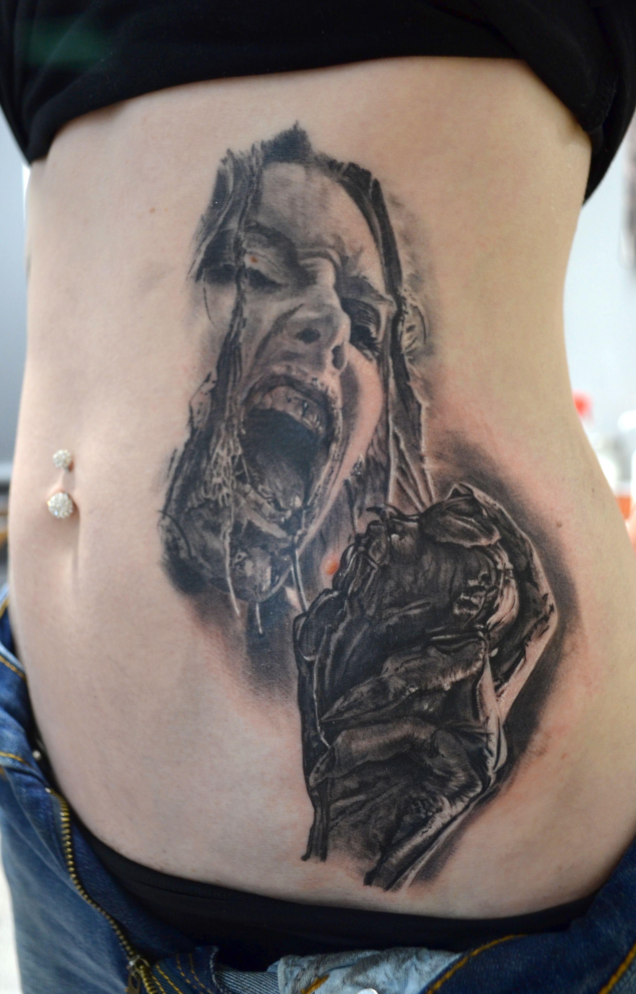 Black Corner Tattoo Tatouage Zombie Realise Par Stephane Bueno
