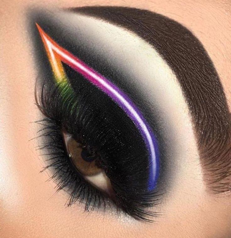 Photo of Black neon eye makeup #'cateyemakeup' #originaleyemakeup #EyeMakeupHowToDo,  #black #cateyema…
