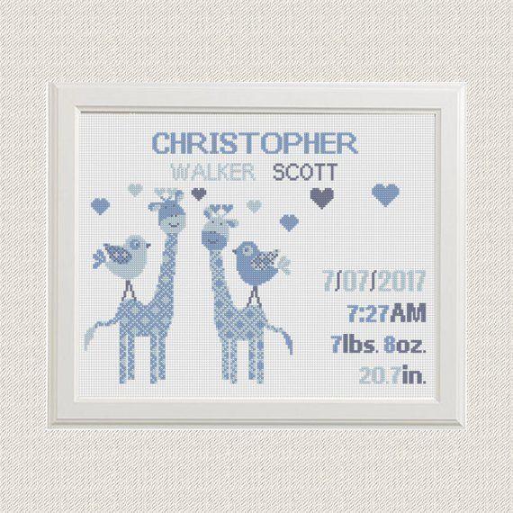 Dream pattern counted cross stitch kit baby boy birth sampler 14ct