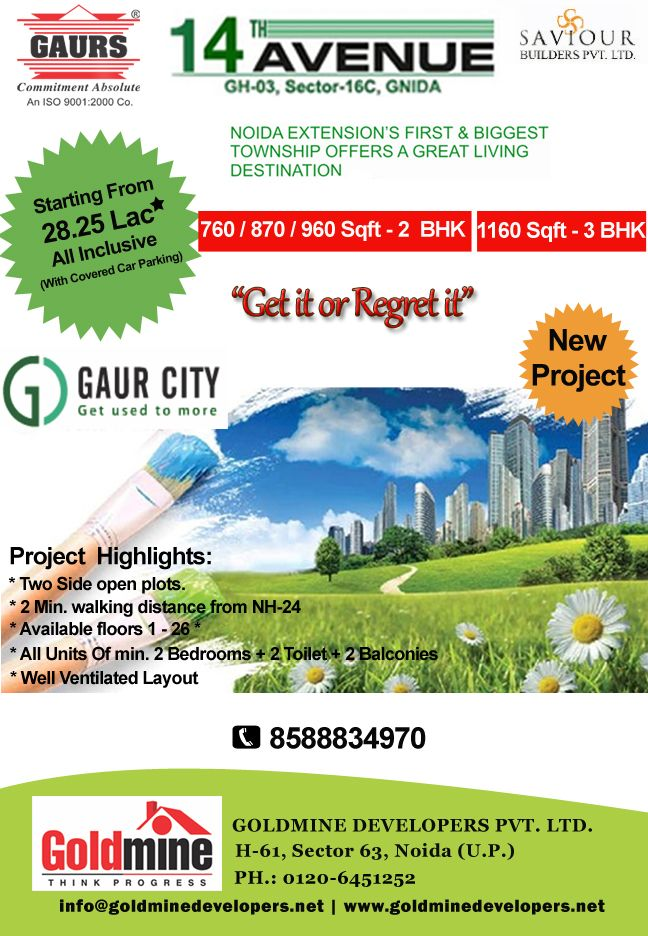 Gaur City - 14th Avenue (Smart Homes): Starting from 28.25 Lakh only (With covered car parking)