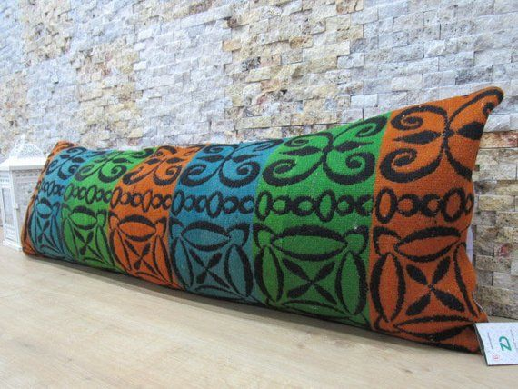 Modern turkey boho pillow 16x48 bolster pillow organic sofa natural dyed kilim pillow aztec pillow embroidery design nomadic pillow code 161