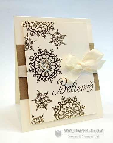 """Snowflake Soiree stamp set (Stampin' Up! Holiday Catalog).  The stunning snowflakes and sentiment were heat embossed in Gold Stampin' Emboss Powder. I added a Vintage Faceted Designer Button on one of the snowflakes for sparkle and a yummy piece of Very Vanilla 1/2"""" Seam Binding Ribbon for polish. Paper:  Very Vanilla , Brushed Gold Card Stock   Ink:  VersaMark Ink Pad"""