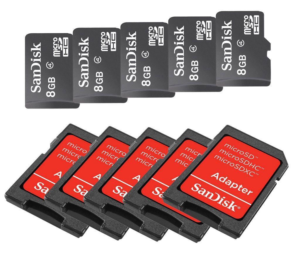 Lot Of 5 New Sandisk 8gb Microsd Microsdhc Sdhc Sd Class 4 Flash Tf Ixpand Flashdisk Lightning Usb 30 128gb Sdix30c 128g Memory Card Sandiskusb