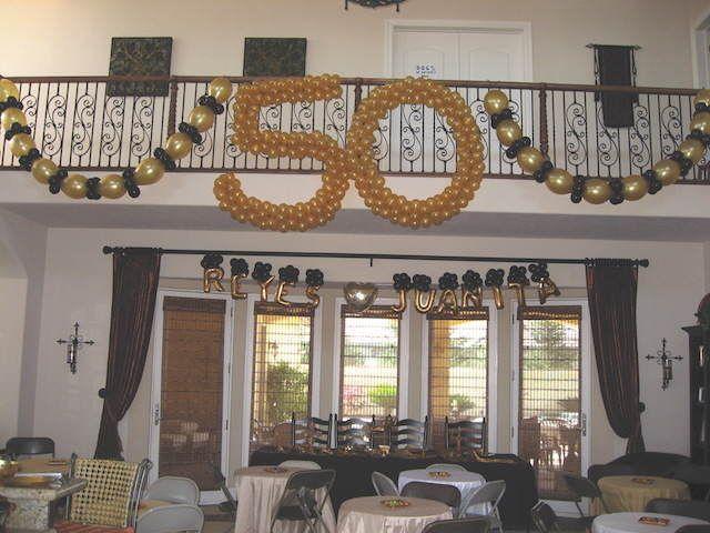 Decoraci n con globos elegante para cumplea os 50 a os for Decoracion cumpleanos 50 anos
