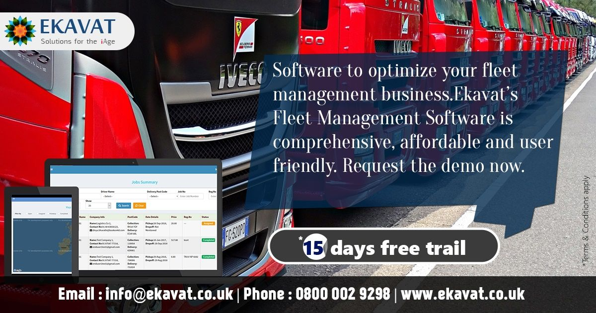 The fleet management software from Ekavat is tailor made to