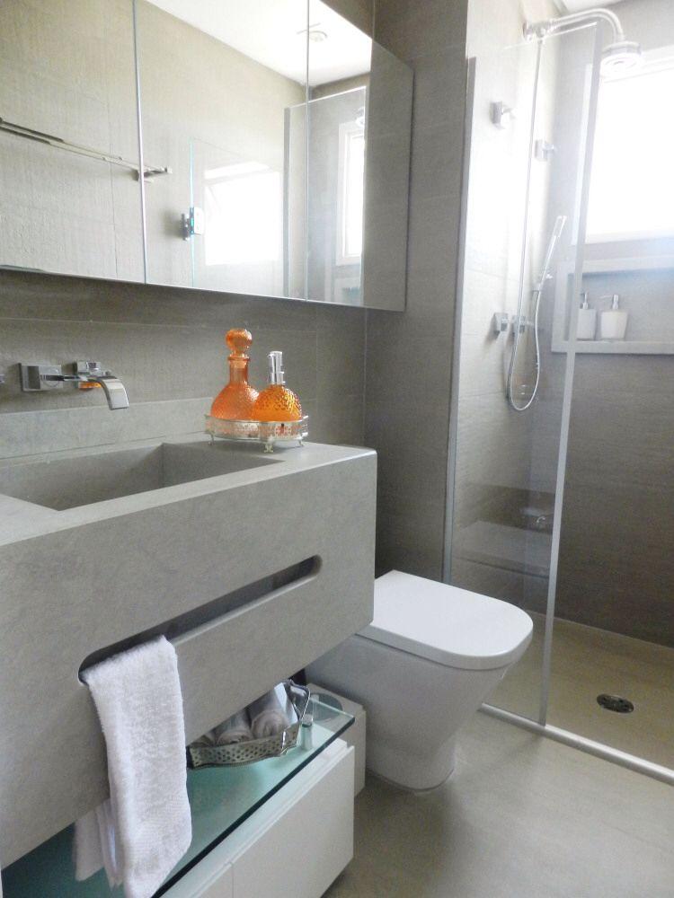Well-known Banheiro revestido com porcelanato cimento queimado, pia em  FW49