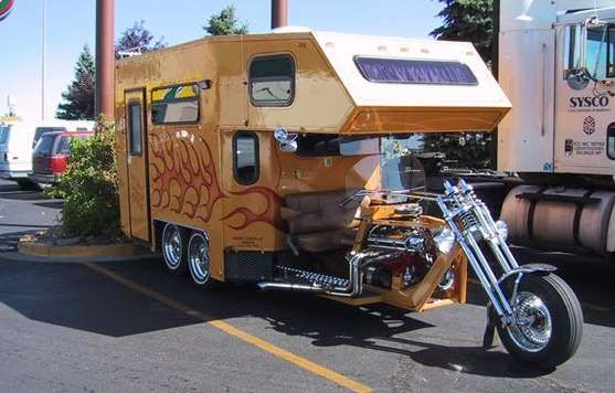 33 Luxury Motorhomes To Retire In Motorcycle Campers Motorcycle Camping Weird Cars