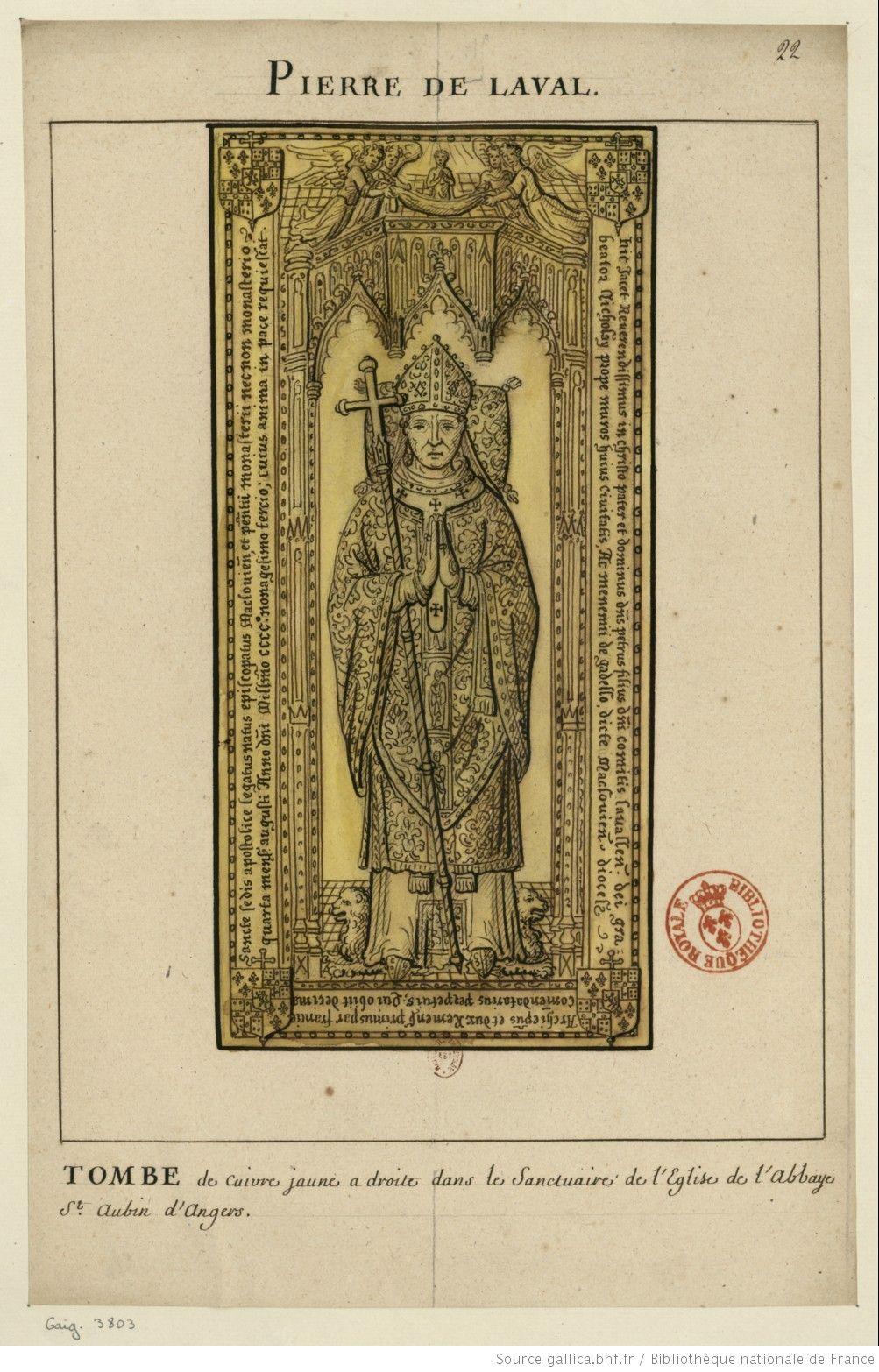 Pierre De Laval Tombe De Cuivre Jaune A Droite Dans Le Sanctuaire De L Eglise De L Abbaye St Aubin D Angers Dessin Lou Dessin Laval Eglise