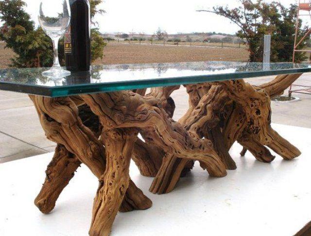 Tree Trunk Table With Glass Top Esstisch Glas Baumstamm Tisch
