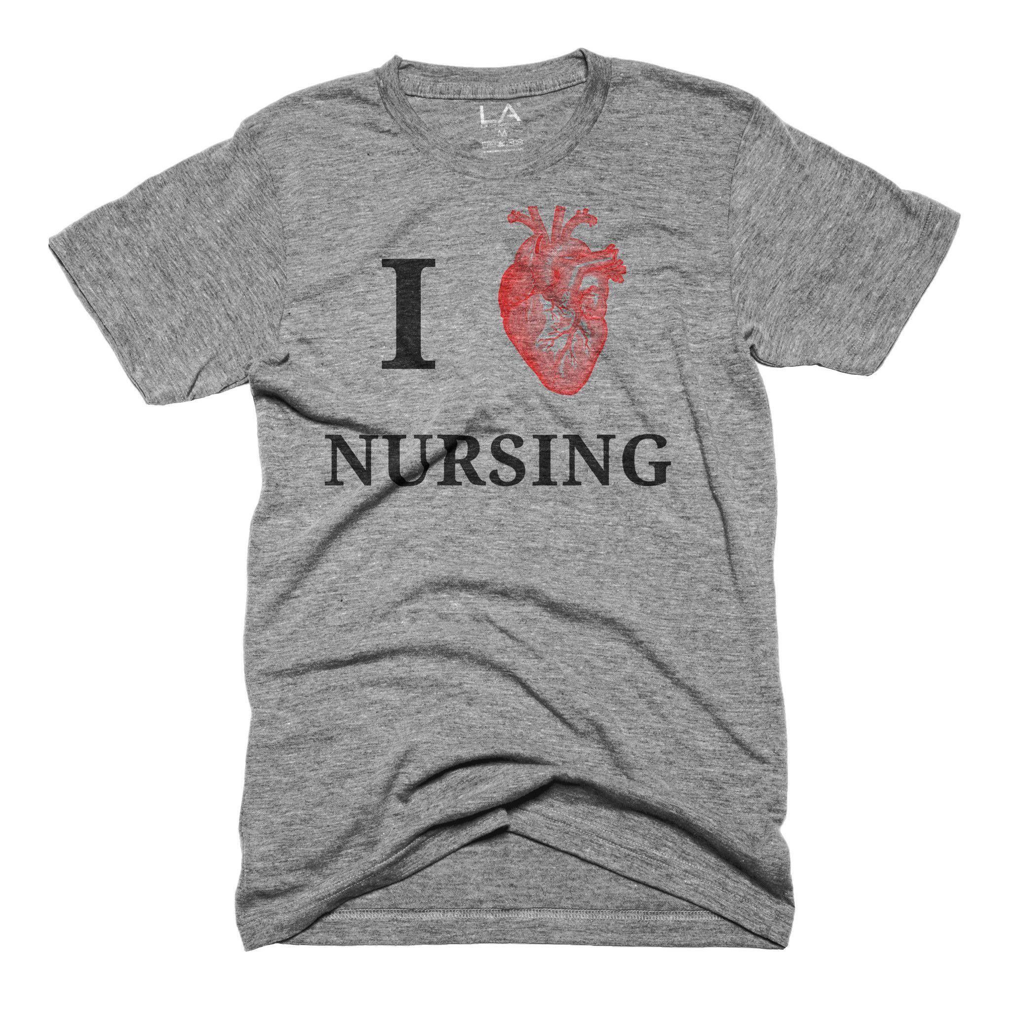 I Love Nursing Shirt from Lamp Apparel www.LampApparel