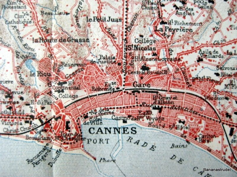 1926 Vintage Map of the Environs of Cannes France by bananastrudel