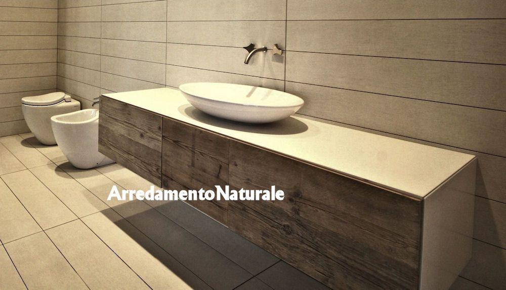 mobili da bagno in legno grezzo massiccio rustico