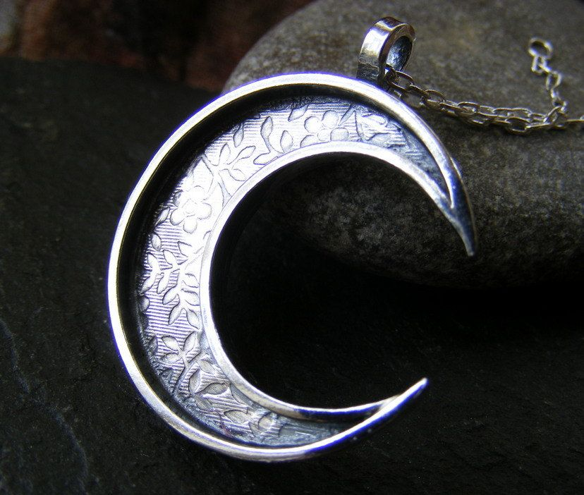 Silver Crescent Moon Flower Textured Pendant necklace Hammered moon pendant with chain by dAgDesigns on Etsy