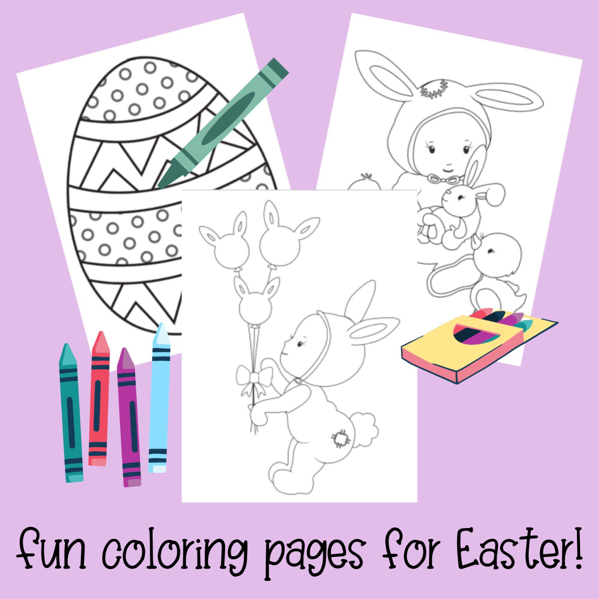 Baby's Easter Coloring Pages - Easter Eggs, Basket, Bunny ...