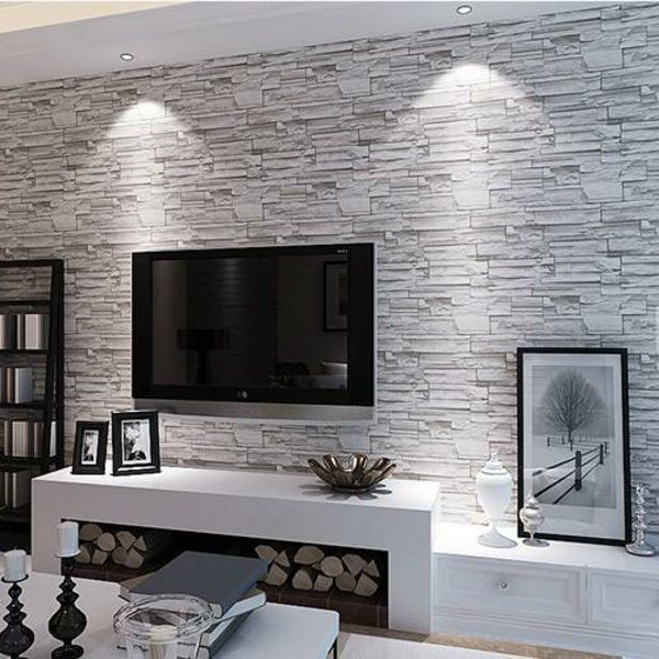 le papier peint imitation brique donne de la personalit votre d coration murale d coration. Black Bedroom Furniture Sets. Home Design Ideas