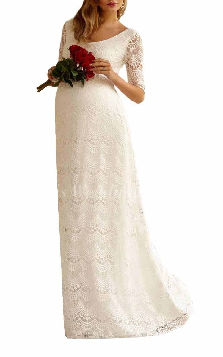Long sleeve maternity wedding dresses  Half Sleeve Empire Overall Lace Dress With Scoop Neckline  Wedding