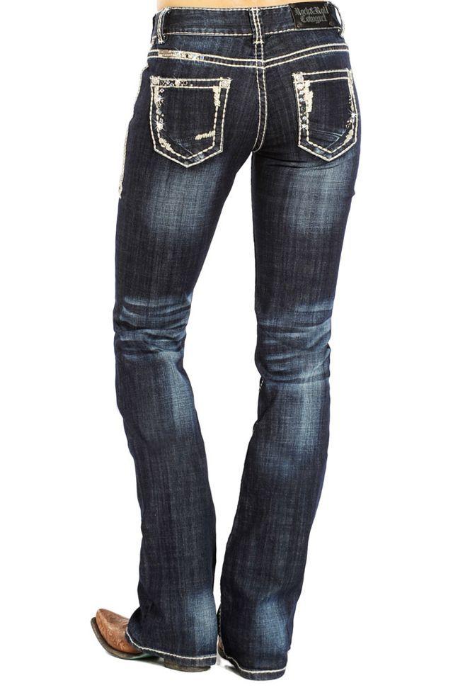 Belt UK  6-14 Womens Stretch Bootcut Jeans dark Blue Pants