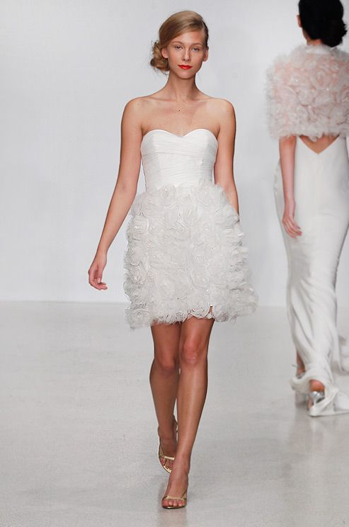 Amsale Short Wedding Dress With Textured Skirt Spring 2013 Short