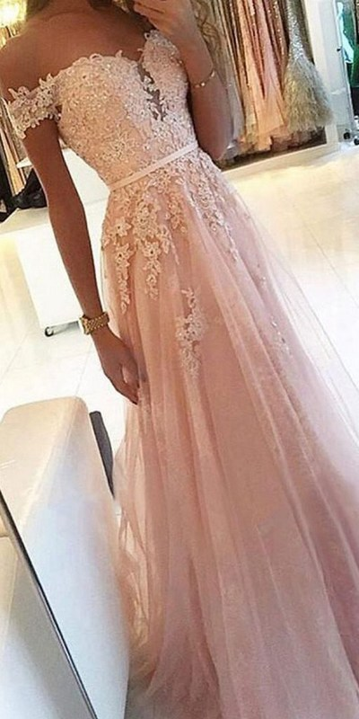 Photo of pink off the shoulder v-neck prom dress,v-neck applique tulle lace school event dress,SB0197 from Sweet Baby