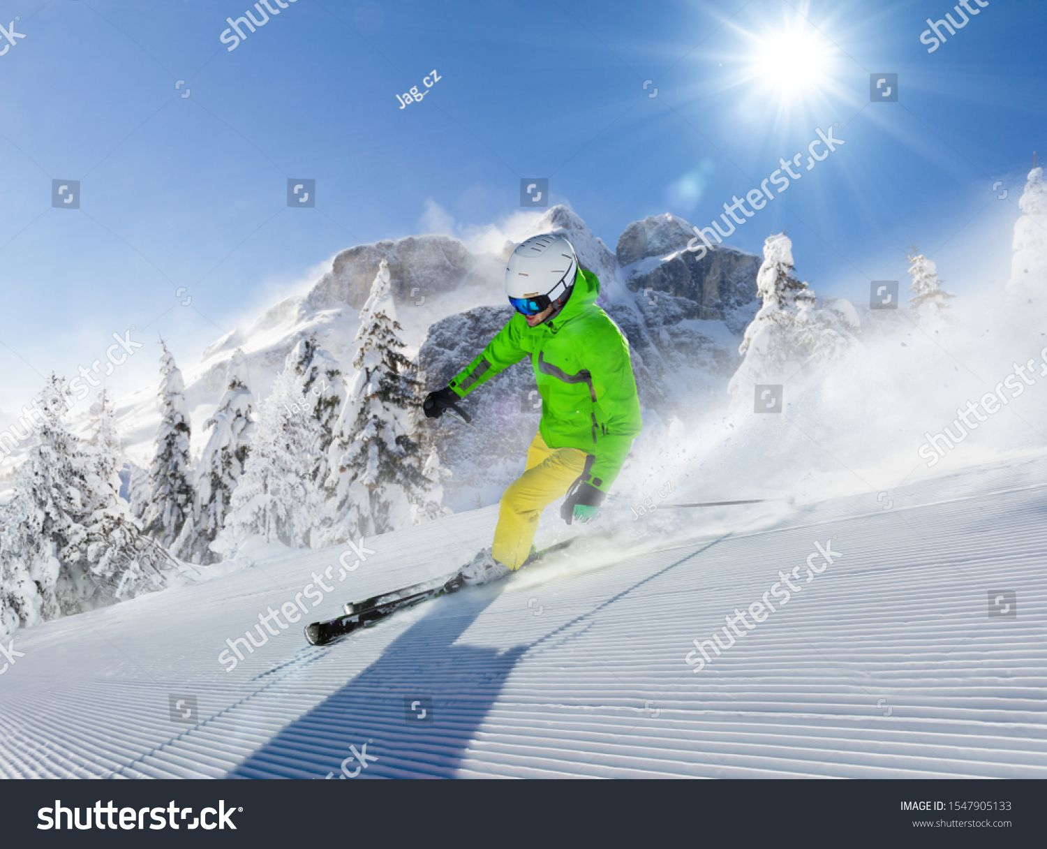 Young Man Skier Running Down The Slope In Alpine Mountains Winter Sport And Recreation Leasure Outdoor Activities Ad Winter Sports Skier Alpine Mountain