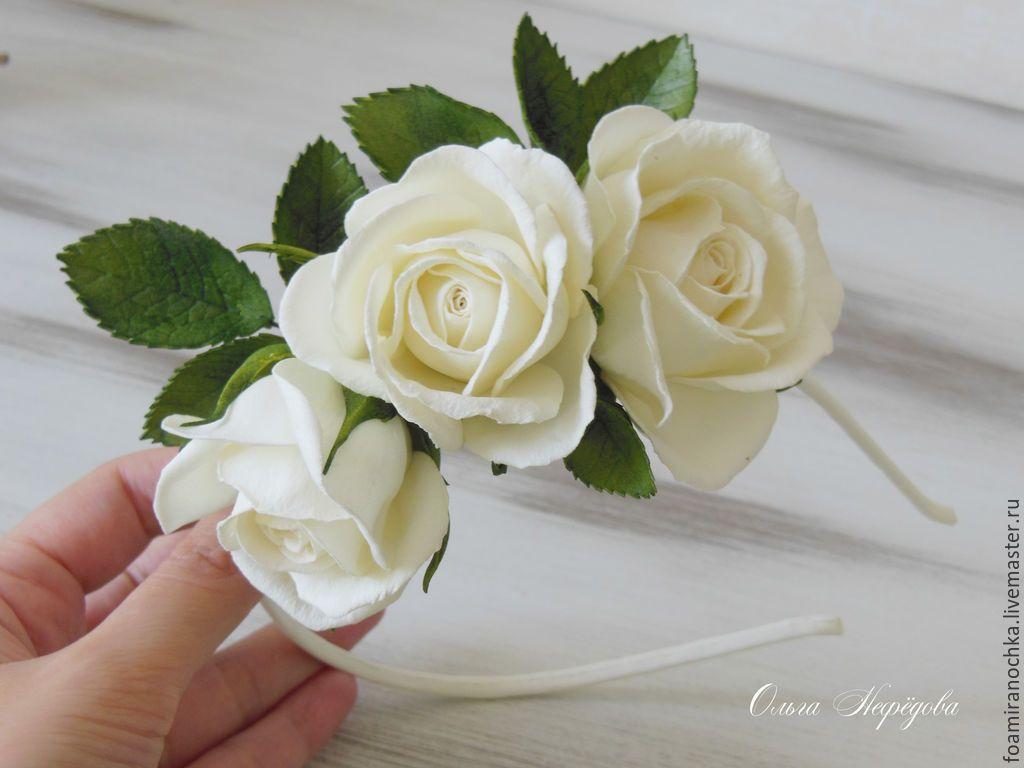 Ободок розы из фоамирана
