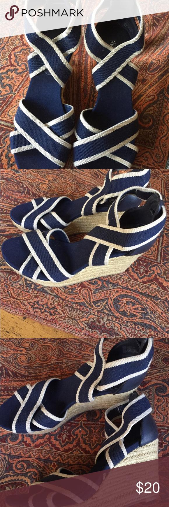 "Reaction platform shoes Never worn platform shoes in navy with ecru woven trim and weave on platform. Top straps have elastic for snug fit. Size 8. 3.25"" platform. Kenneth Cole Reaction Shoes Platforms"