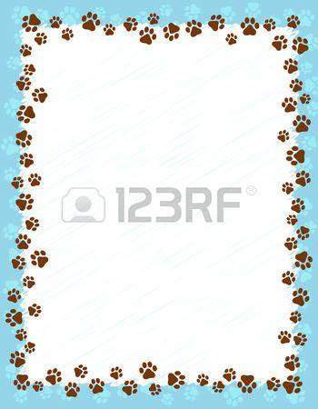 huellas de perro: Perro huellas Frontera marco en fondo azul claro ...