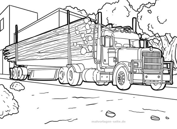 Malvorlage / Ausmalbild Laster mit Holz | Kostenlose Malvorlagen ...