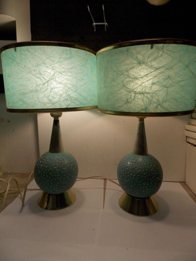 Mid Century Aqua Retro Table Lamps W Green Spun