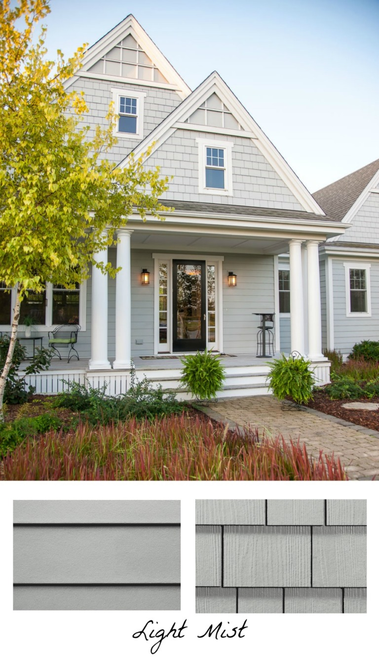 Love the idea of using one exterior color but two different types of siding…
