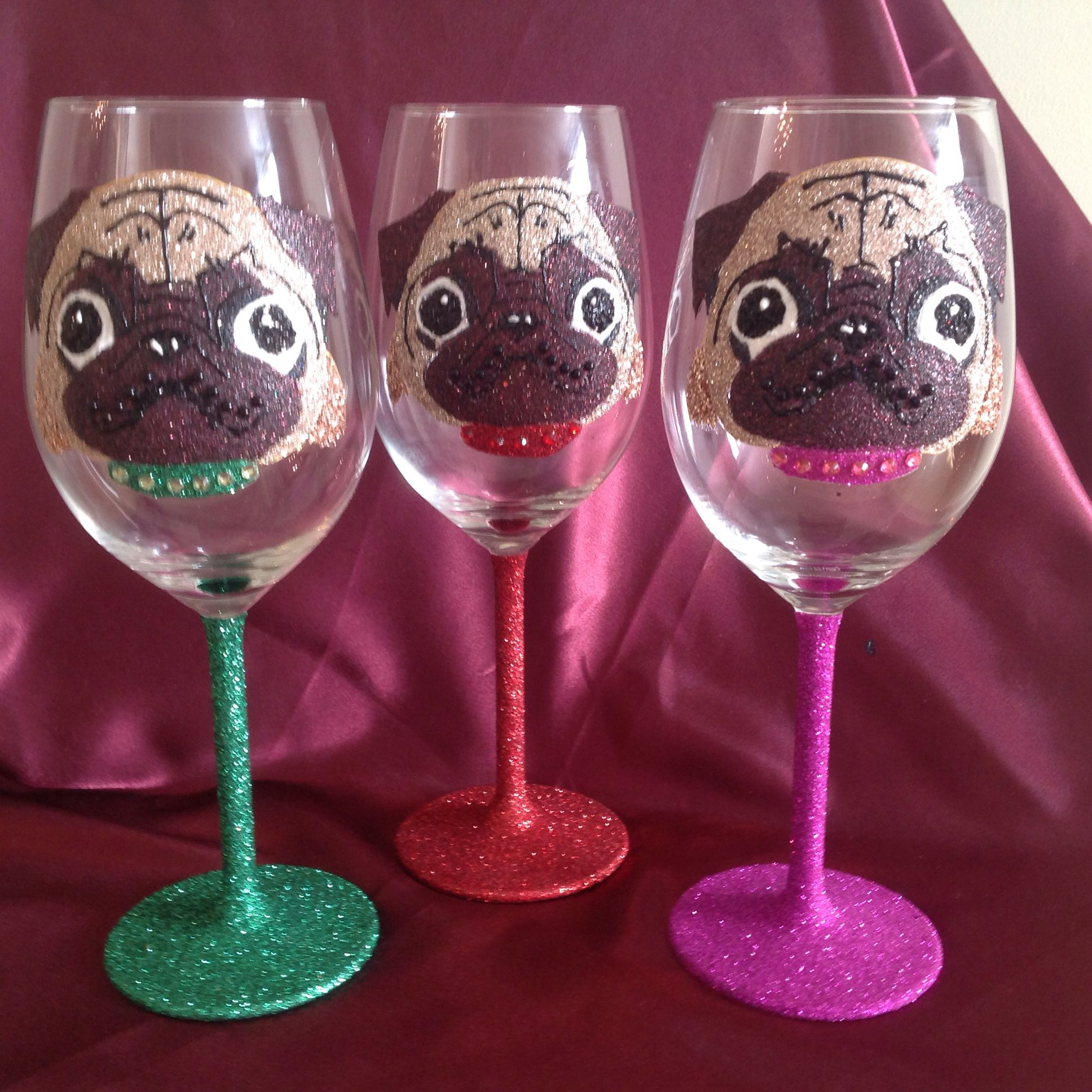 Pug Wine Glass Wine Glass Etsy Uk Etsy