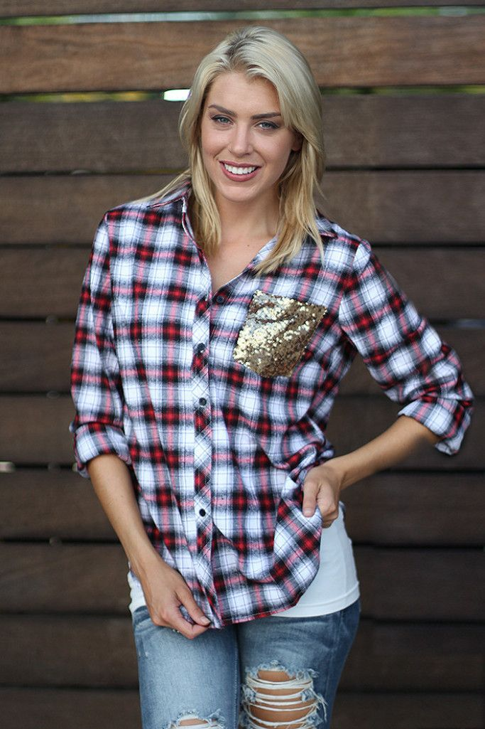 Plaid Top With Sequins | Red top | Plaid shirt – Saved by the Dress