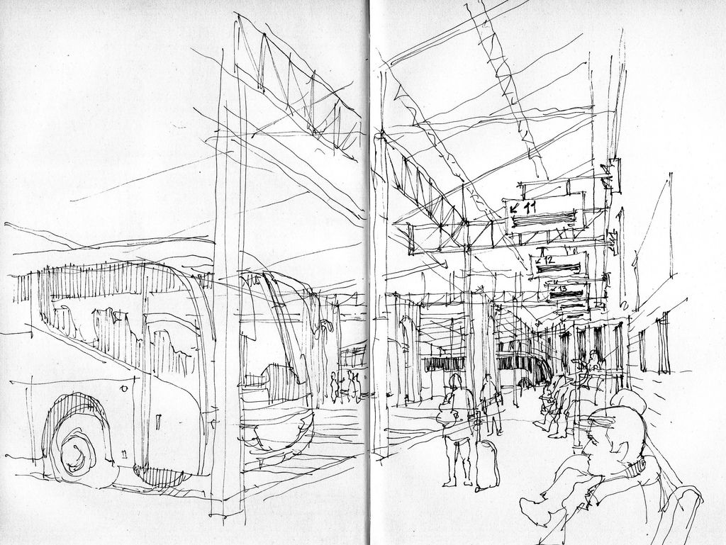 Malaga Bus Station Perspective Sketch Perspective Drawing Lessons One Perspective Drawing
